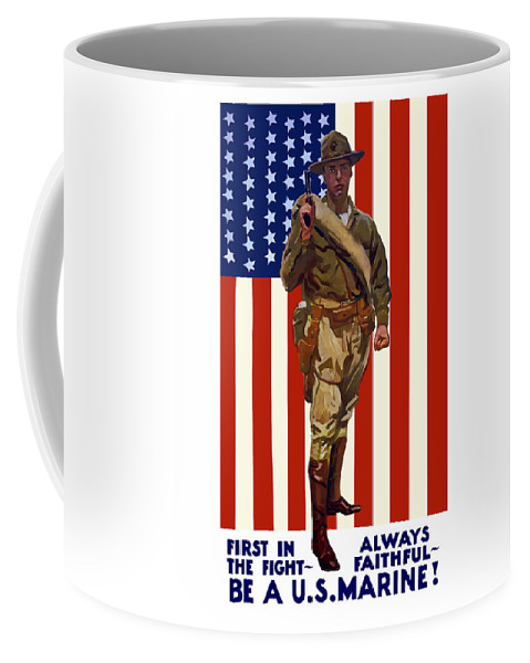 Marine Corps Coffee Mug featuring the painting Be A US Marine by War Is Hell Store
