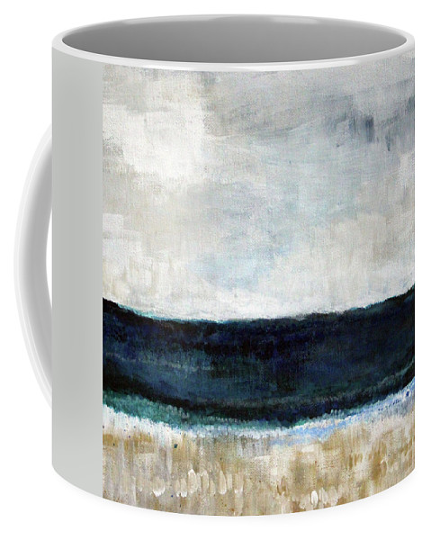 Beach Coffee Mug featuring the painting Beach- abstract painting by Linda Woods