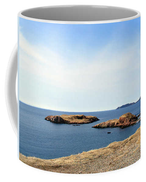 Beach Coffee Mug featuring the photograph Beach And Rocky Shoreline by Barbara Griffin