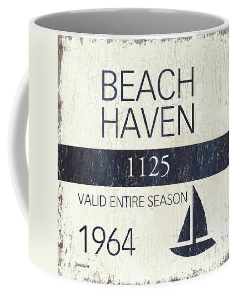 Beach Coffee Mug featuring the painting Beach Badge Beach Haven by Debbie DeWitt