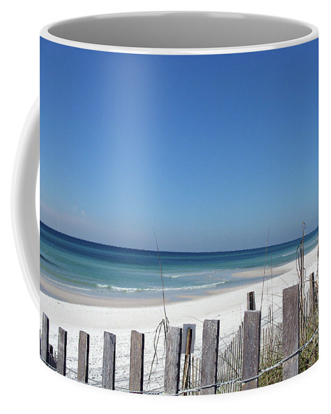 Beach Coffee Mug featuring the photograph Beach Behind The Fence by Christiane Schulze Art And Photography