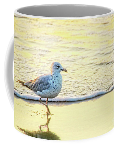 Beach Coffee Mug featuring the photograph Beach Bird by Debbie Nobile