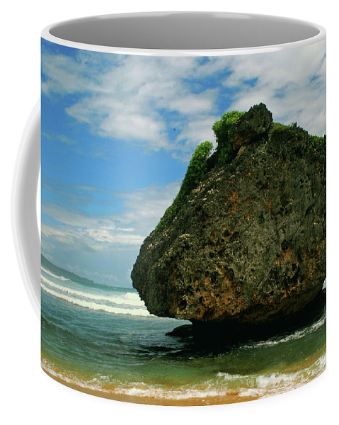 Beach Coffee Mug featuring the photograph Beach boulder by Gary Wonning