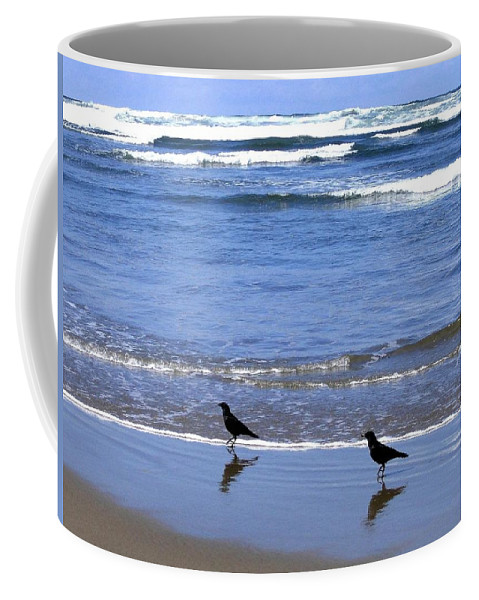 Crows Coffee Mug featuring the photograph Beach Buddies by Will Borden
