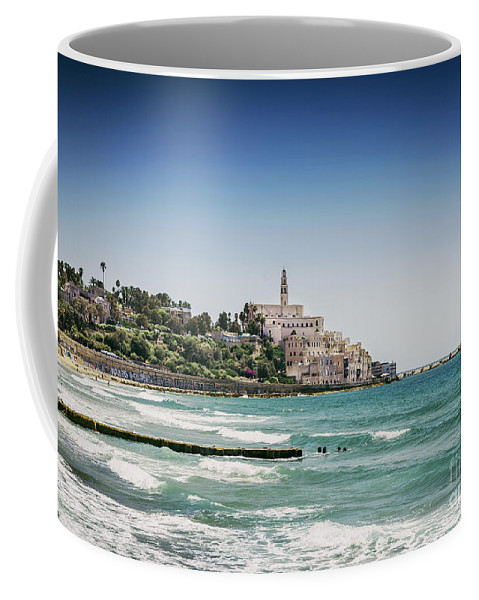 Ancient Coffee Mug featuring the photograph Beach By Jaffa Yafo Old Town Area Of Tel Aviv Israel by Jacek Malipan