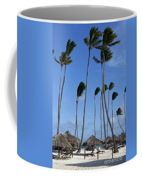 Beach Coffee Mug featuring the photograph Beach Cabanas And Palm Trees by Anthony Totah