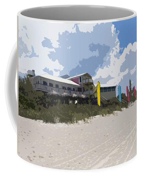 Casino Coffee Mug featuring the painting Beach Casino by Allan Hughes