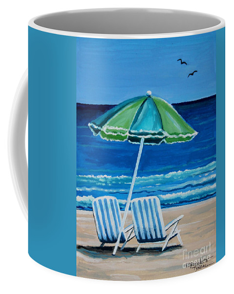 Beach Coffee Mug featuring the painting Beach Chair Bliss by Elizabeth Robinette Tyndall