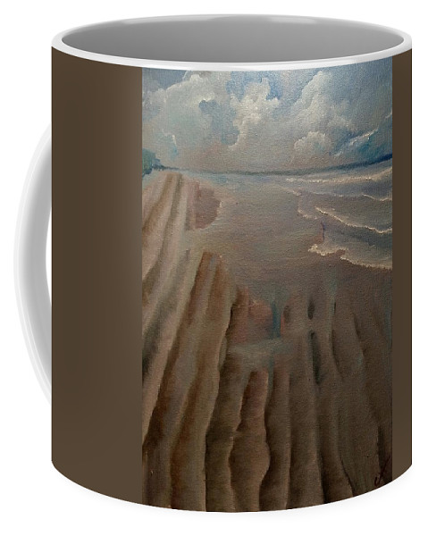 Beach Coffee Mug featuring the painting Beach by Cindy Harvell