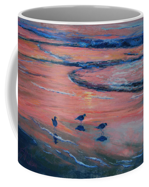 Beach Scenes Coffee Mug featuring the painting Beach Combers by Billie Colson