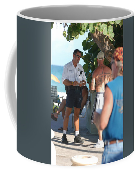 Cops Coffee Mug featuring the photograph Beach Cops And Christ by Rob Hans