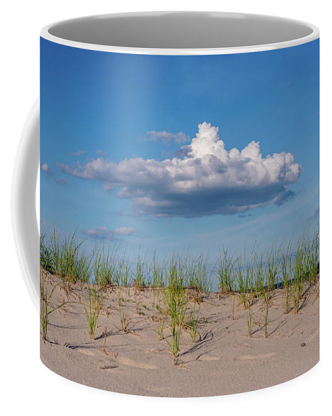 Terry D Photography Coffee Mug featuring the photograph Beach Dune Clouds Jersey Shore by Terry DeLuco