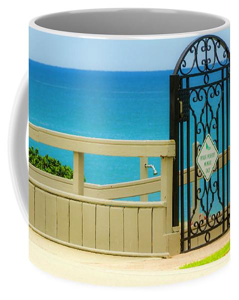 Gate Coffee Mug featuring the photograph Beach Gate by Wolfgang Stocker