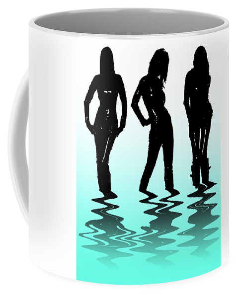 Abstract Coffee Mug featuring the digital art Beach Girls by Svetlana Sewell