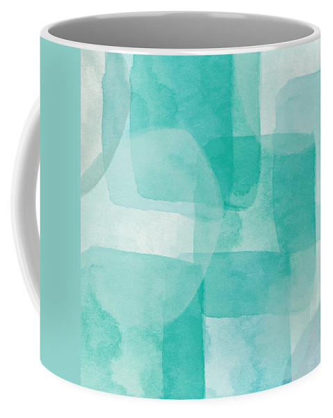 Abstract Coffee Mug featuring the painting Beach Glass- Abstract Art by Linda Woods by Linda Woods