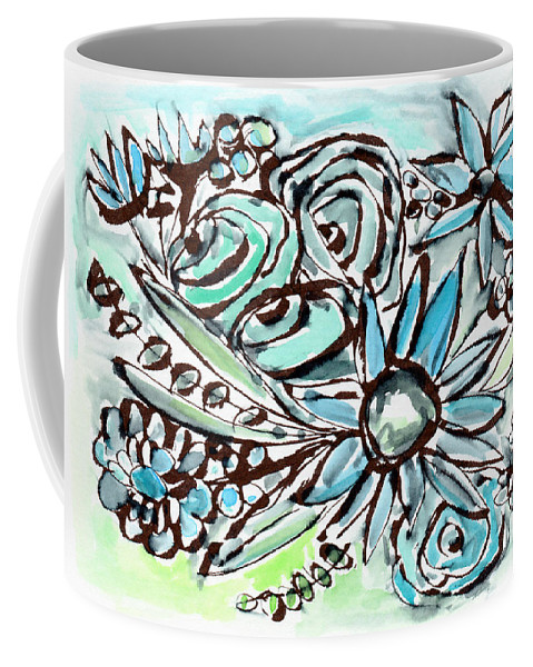 Flowers Coffee Mug featuring the painting Beach Glass Flowers 1- Art By Linda Woods by Linda Woods