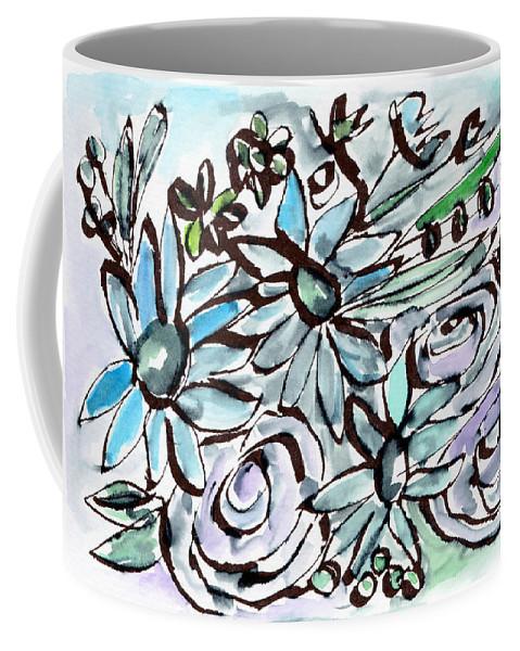 Flowers Coffee Mug featuring the painting Beach Glass Flowers 2- Art By Linda Woods by Linda Woods
