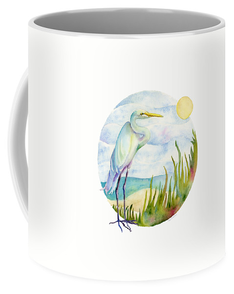 White Bird Coffee Mug featuring the painting Beach Heron by Amy Kirkpatrick
