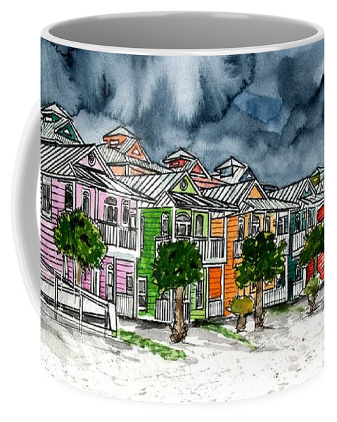 Watercolor Coffee Mug featuring the painting Beach Houses Watercolor Painting by Derek Mccrea
