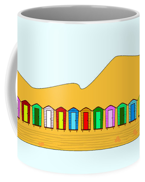 Beach Coffee Mug featuring the digital art Beach Huts And Sand by Bigalbaloo Stock