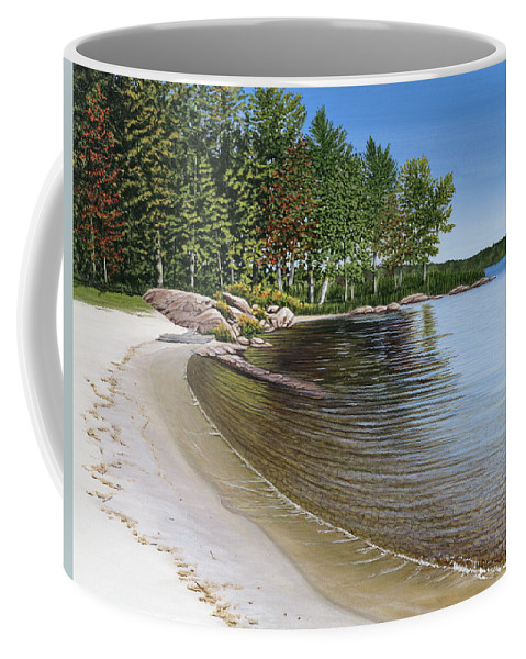 Landscapes Coffee Mug featuring the painting Beach In Muskoka by Kenneth M Kirsch