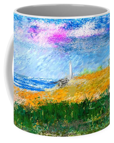 Digital Painting Coffee Mug featuring the digital art Beach Lighthouse by David Lane