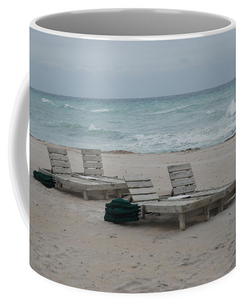 Chairs Coffee Mug featuring the photograph Beach Loungers by Rob Hans