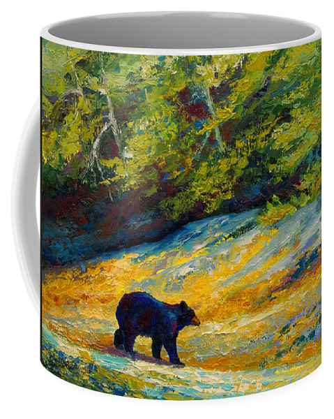 Bear Coffee Mug featuring the painting Beach Lunch - Black Bear by Marion Rose