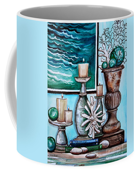 Beach Coffee Mug featuring the painting Beach Nautical Decor by Elizabeth Robinette Tyndall