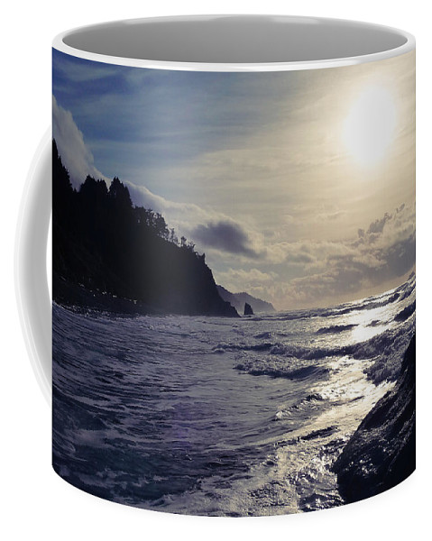 Beach Coffee Mug featuring the photograph Beach - Oregon - Golden Sun by Haley Mueller