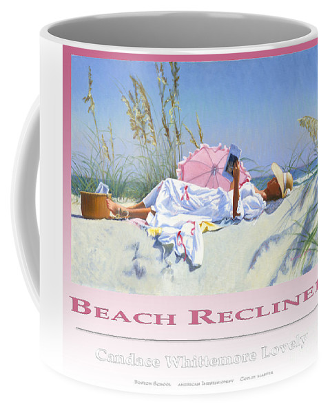 Woman Coffee Mug featuring the painting Beach Recliner Poster by Candace Lovely