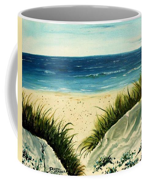 Beach Coffee Mug featuring the painting Beach Sand Dunes Acrylic Painting by Derek Mccrea