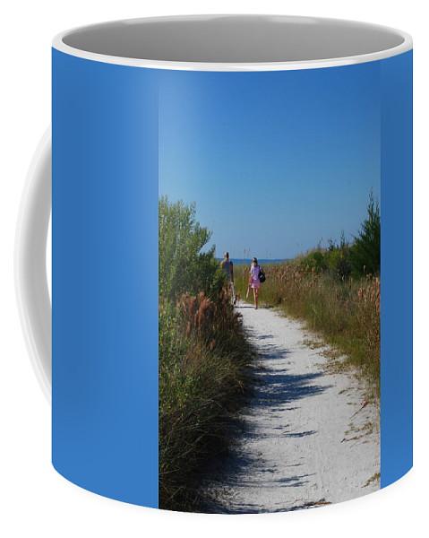 Walking Coffee Mug featuring the photograph Beach Stroll by Gary Wonning