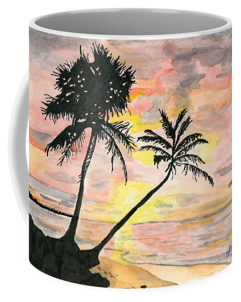 Sunrise Coffee Mug featuring the painting Beach Sunrise by Alexis Grone