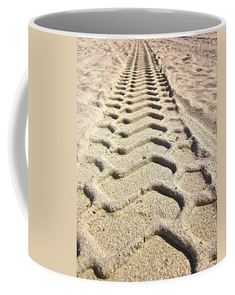 Photograph Of Tire Tracks Coffee Mug featuring the photograph Beach Tracks by Gwyn Newcombe