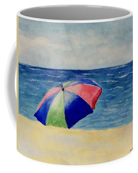 Beach Coffee Mug featuring the painting Beach Umbrella by Jamie Frier