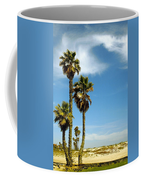 Palm Coffee Mug featuring the photograph Beach View With Palms And Birds by Ben and Raisa Gertsberg