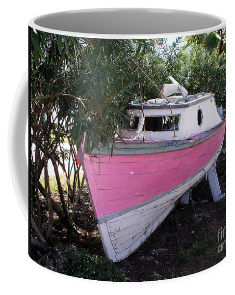 Boat; Old; Faded; Dreams; Pink; Beached; Greek; Wrecked; Paint; Florida; Ship; Flotsom; Grounded; Dr Coffee Mug featuring the photograph Beached Dreams At Port Canaveral by Allan Hughes