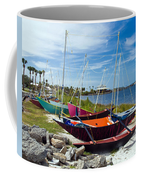Sail; Sailing; Boat; Sailboat; Mast; Plywood; Homemade; Boy; Scouts; Fleet; Class; Dragon; Tiller; F Coffee Mug featuring the photograph Beached In Sebastian Florida by Allan Hughes