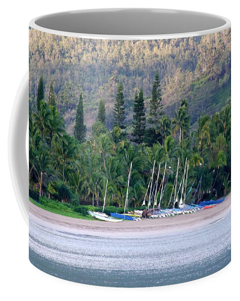 Hanalei Bay Coffee Mug featuring the photograph Beached Overnight by Mary Deal