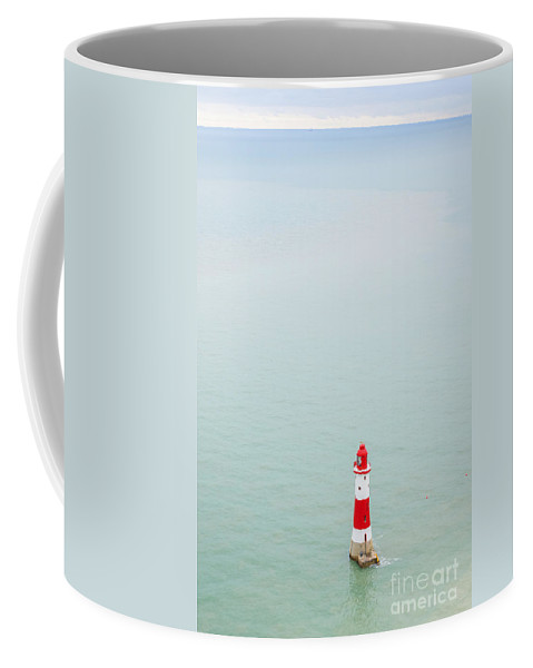 Traveling Famous Holiday Vacation Trip Natural Nature Picturesque Popular South Downs National Park Texture Background Britain British England English Uk Europe European Coastline Shore Coastal Seaside Seven Sisters Beautiful View Panorama Panoramic Landscape Travel Bay Tourism Landmark Landmarks Attraction Destination Heritage Countryside Scene Sightseeing Viewpoint Scenery Blue Sky Water Horizon Sight Calm Quiet Eastbourne Sussex Beachy Head Lighthouse Sea Coast Coffee Mug featuring the photograph Beachy Head Lighthouse by Marcin Rogozinski