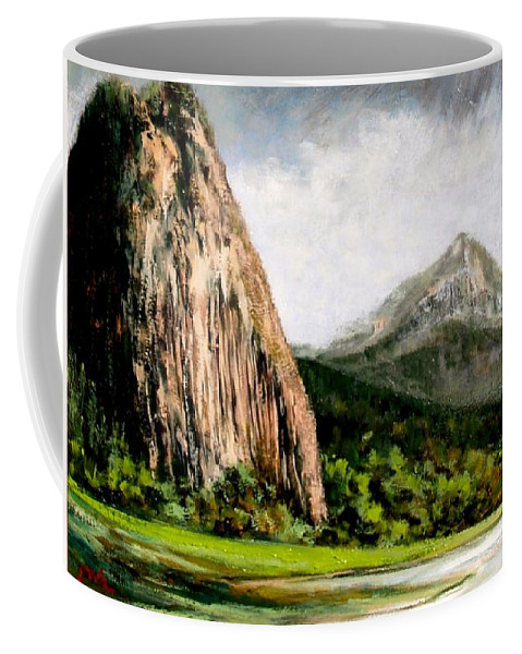Landscape Coffee Mug featuring the painting Beacon Rock Washington by Jim Gola