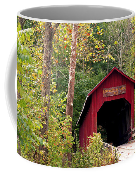 Covered Bridge Coffee Mug featuring the photograph Bean Blossom Bridge II by Margie Wildblood