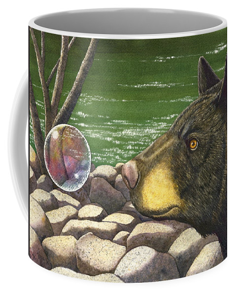 Black Bear Coffee Mug featuring the painting Bear bubble by Catherine G McElroy