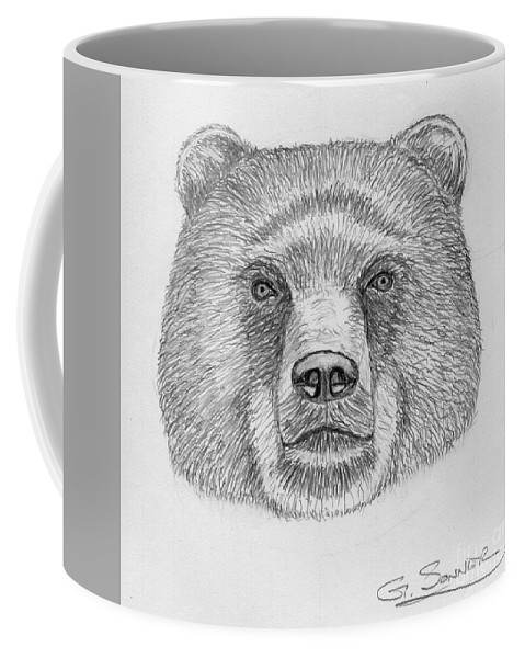 Bear Coffee Mug featuring the drawing Bear by George Sonner
