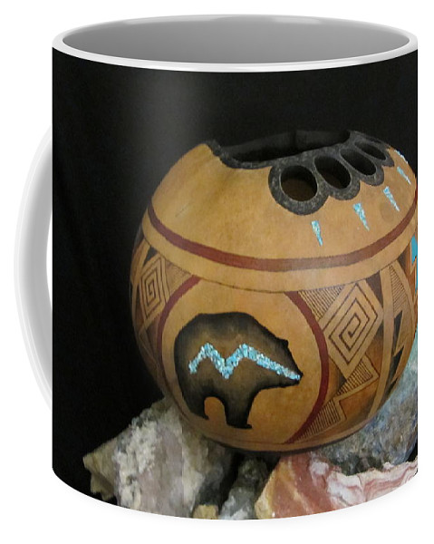 Gourd Coffee Mug featuring the pyrography Bear Paw by Barbara Prestridge