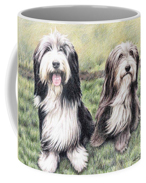 Dogs Coffee Mug featuring the drawing Bearded Collies by Nicole Zeug