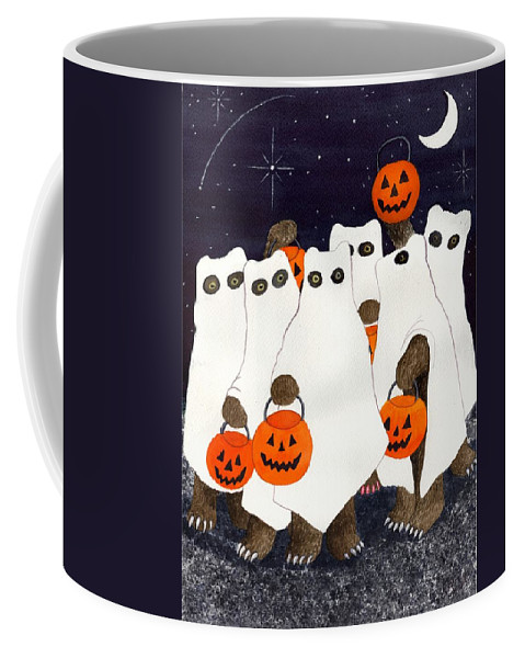 Halloween Coffee Mug featuring the painting Bear's Freebie Night by Catherine G McElroy