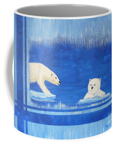 Polar Bear Coffee Mug featuring the painting Bears In Global Warming by Monika Shepherdson