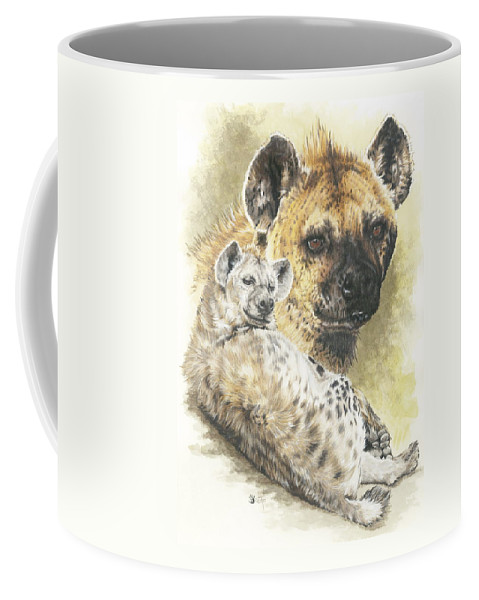 Hyena Coffee Mug featuring the mixed media Beastly by Barbara Keith